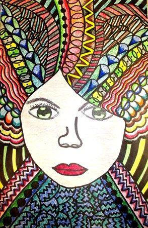 Crazy Hair Day Line Design Self Portrait Student Work Art