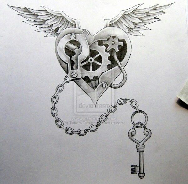 Awesome Mechanical Heart With Gears Inside Wings Chain And Skeleton Key Steampunk Tattoo Key Tattoo Designs Key Tattoos