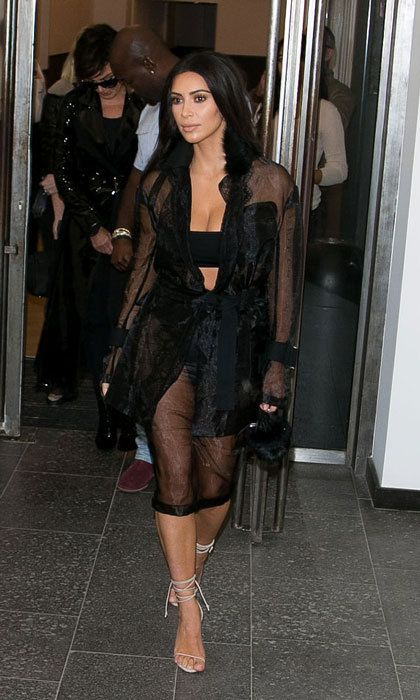 Kim Kardashian West sported for a sheer sultry number for a day out in Paris.