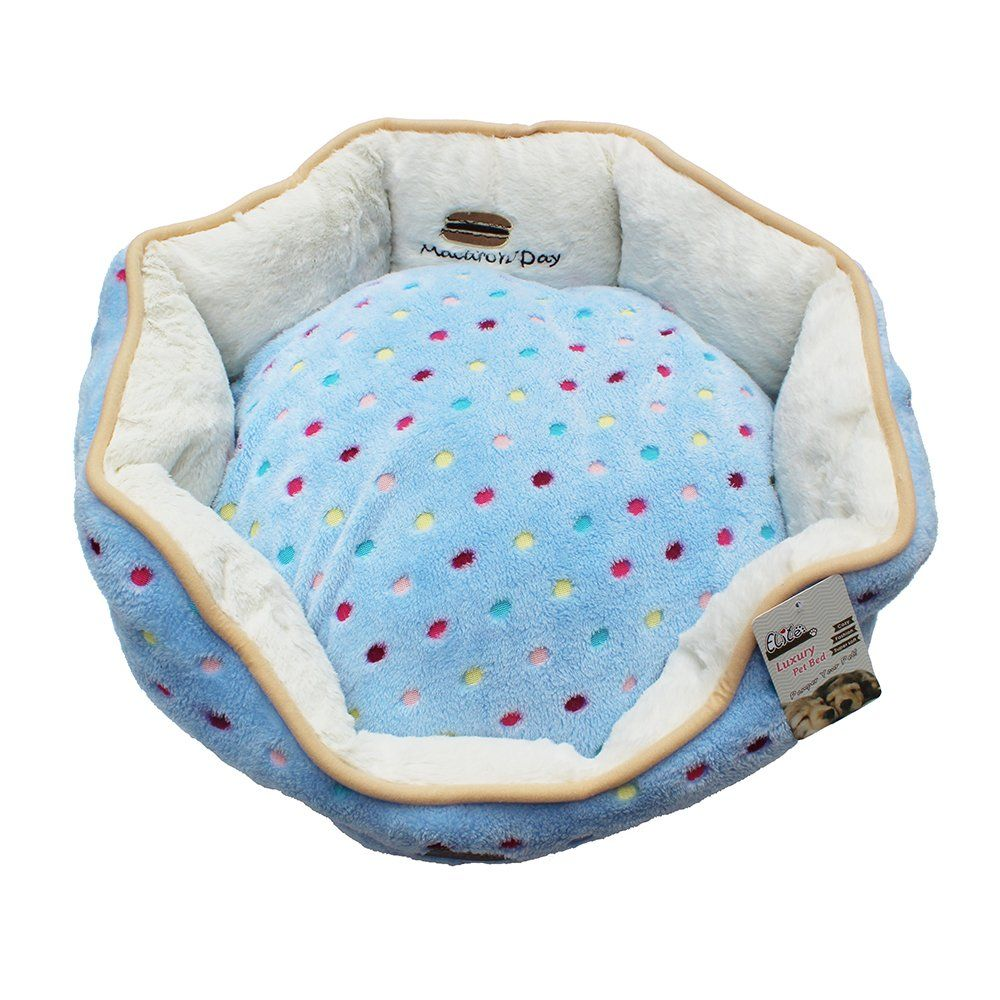 Leepets Polka Dot Round Pet Bed for Small Dog and Cat with