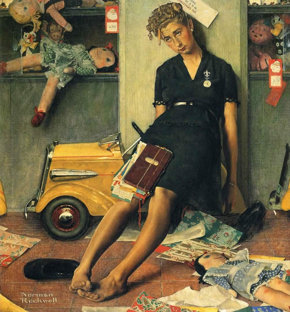 Norman Rockwell Tired Salesgirl On Christmas Eve | Norman Percevel ...
