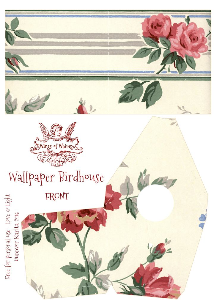 Wings of Whimsy: Wallpaper Birdhouse No 24 Front #vintage #ephemera #freebie #printable #wallpaper #bird #house