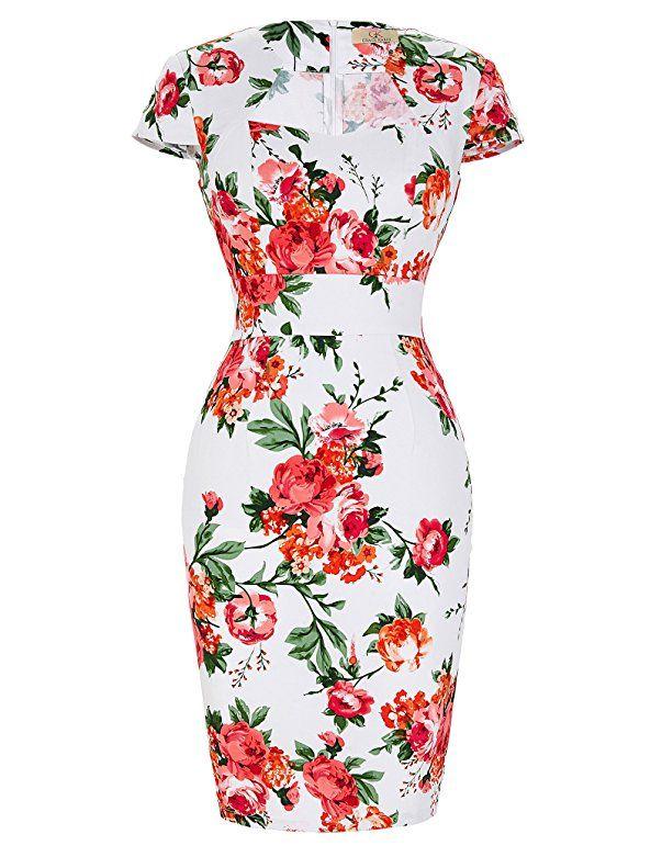 e4a46753d9b GRACE KARIN Women s 50s Vintage Pencil Dress Cap Sleeve Wiggle Dress CL7597  at Amazon Women s Clothing store
