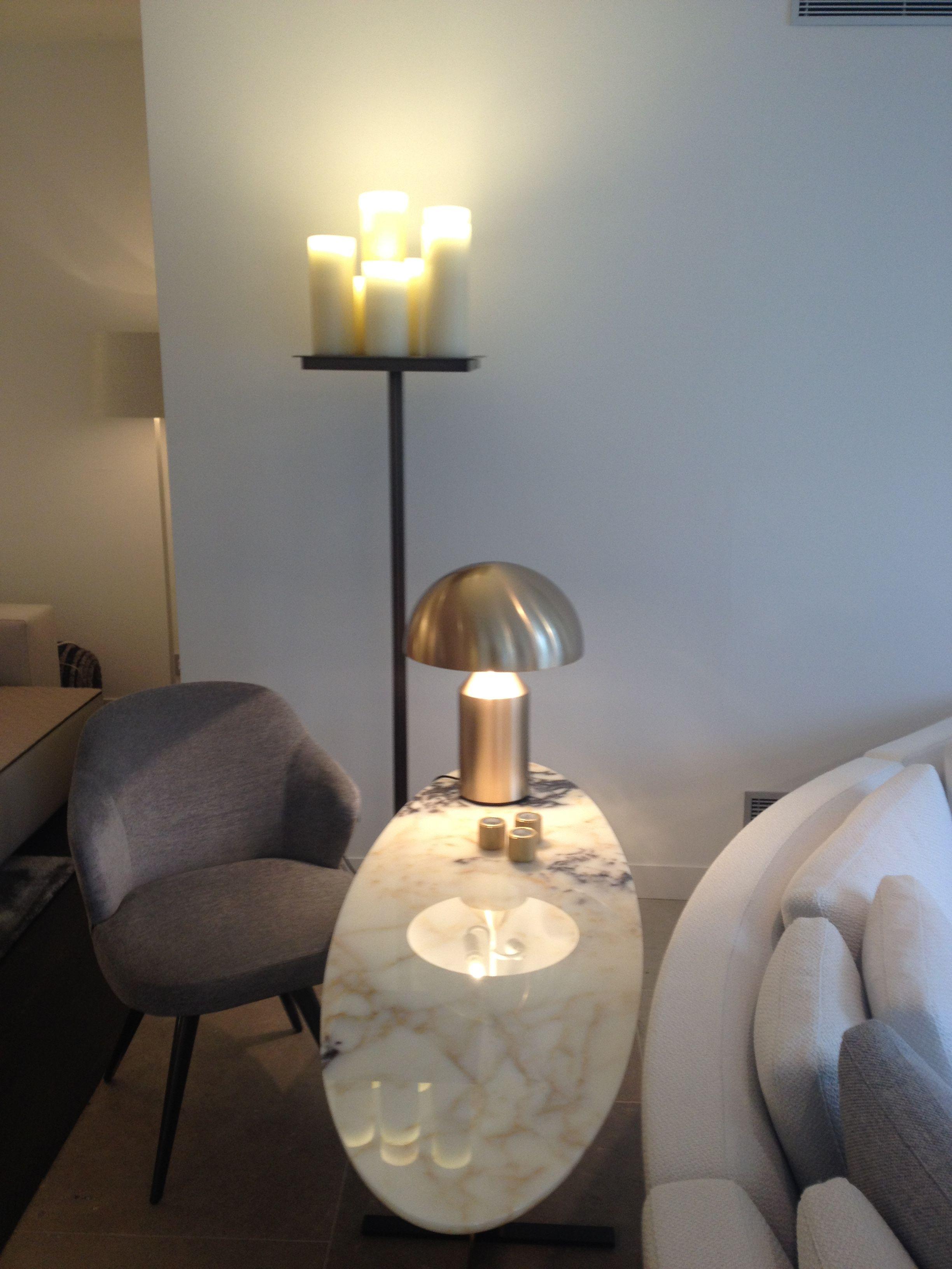 Minotti Catlin console \u0026 Oluce Atollo table lamp. Stunning ...
