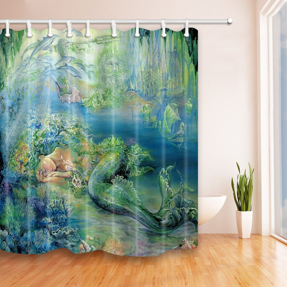 Shower Curtain Sets Teal Mermaid For Kids Create Your Own Set