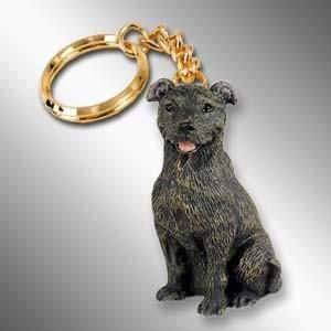 Bull Terrier Brindle Dog Tiny One Resin Keychain Key Chain Ring