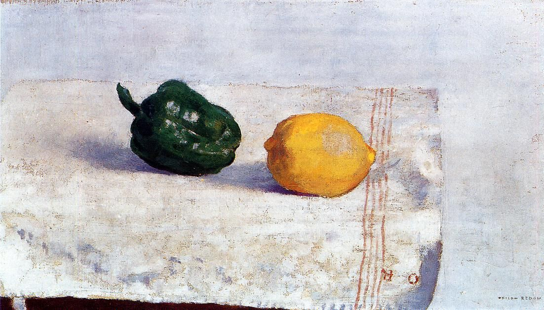 Pepper and Lemon on a White Tablecloth- Odilon Redon -