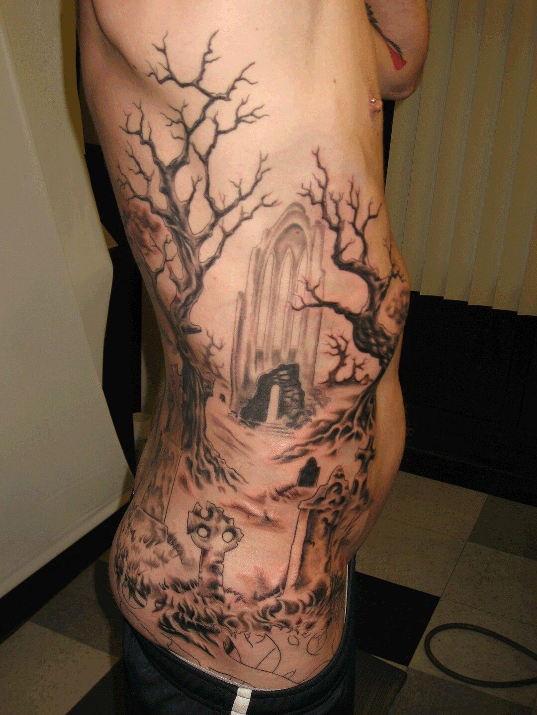 Cemetery and graveyard tattoo on half sleeve - Tattoo