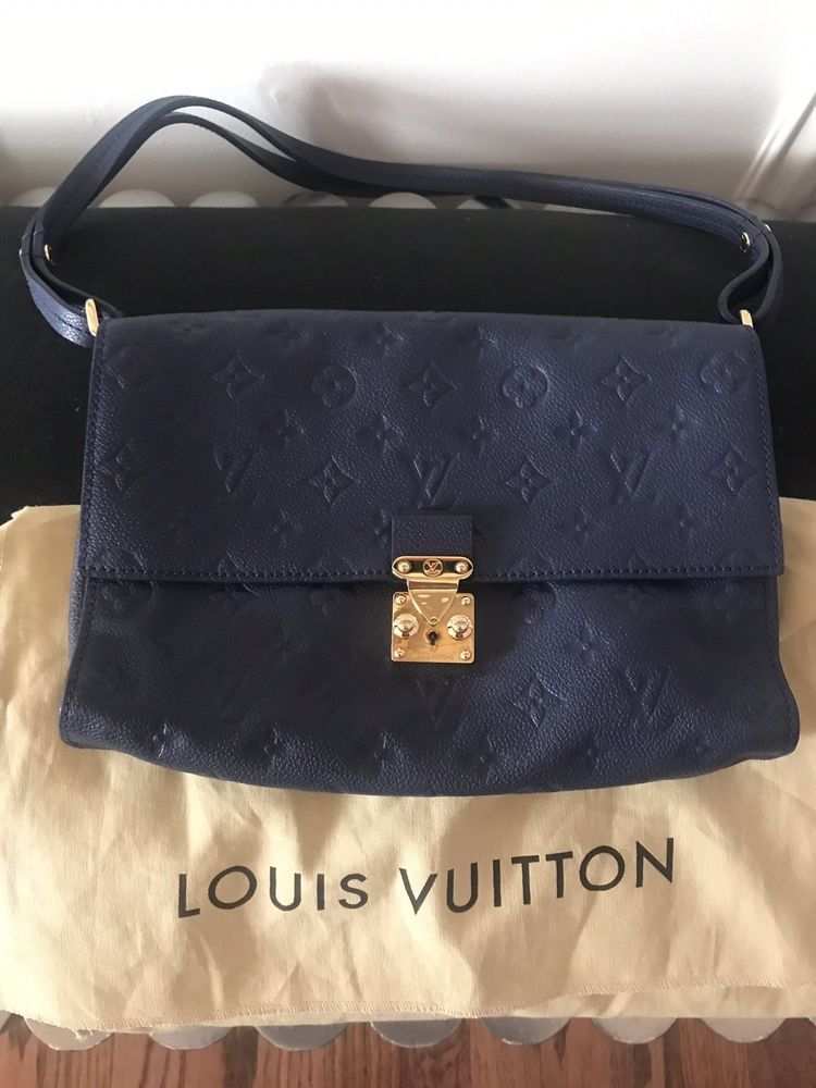 LOUIS VUITTON Monogram Empreinte Fascinante Shoulder Bag Blue Infini ... 70284387f0f53
