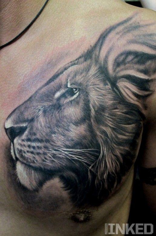 Black And Grey Lion Head By Stefano Alcantara Inkedmagazine Lion Head Tattoo Tattoos Inked Lion Head Tattoos Chest Tattoo Animal Tattoos