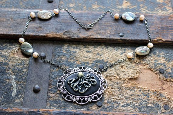 Octopus and Treasures Cameo Necklace by earthcharms on Etsy