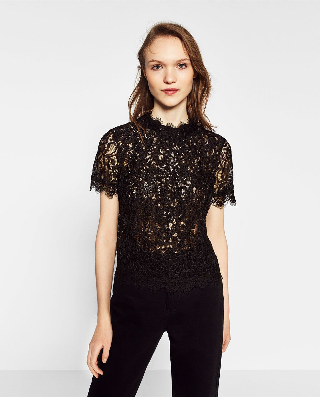 Black t shirt dress zara - Embroidered Lace T Shirt View All Tops Woman Collection Ss