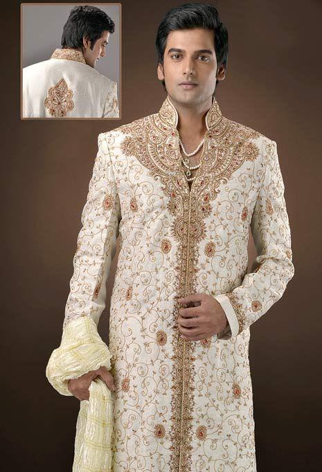 Off White Raw Silk Embroidered Sherwani with Churidar and Dupatta.