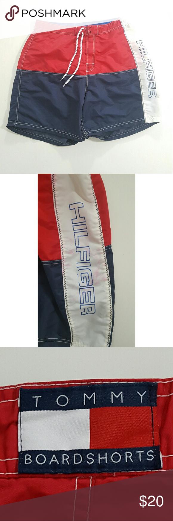 """Vintage Tommy Hilfiger Boardshorts XL 32-34"""" Vintage 90s Men's Tommy Hilfiger Boardshorts  Size 32""""-34"""" Shorter cut Tommy Hilfiger Swim Board Shorts"""