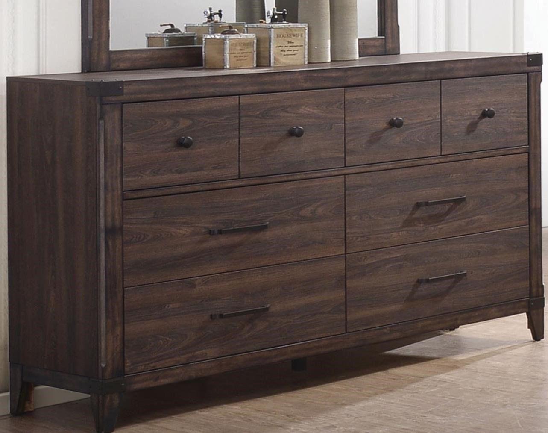 Wooden Rustic Dresser With Corner Brackets Dark Wood Brown