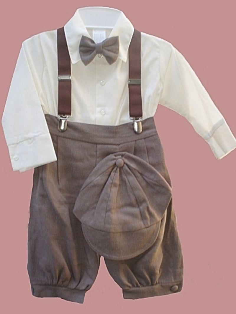 Baby Toddler Boys Vintage 5-Piece Suspender Bowtie Knickerbocker Suit Set