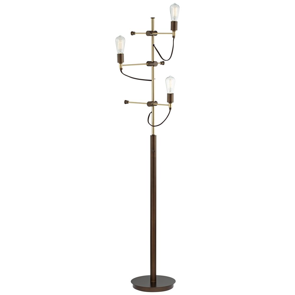 Franklin Iron Works Henning 3 Light Edison Tree Floor Lamp Style 8w834 Industrial Floor Lamps Tree Floor Lamp Floor Lamp