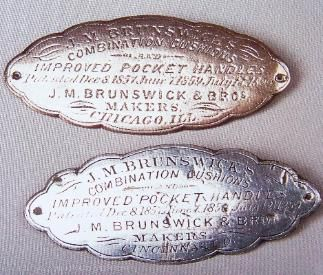 Two Early J M Brunswick Billiard Table Nameplates One From Cincinnati Ohio One From Chicago Illinois I Brunswick Billiards Antique Billiards Billiard Table
