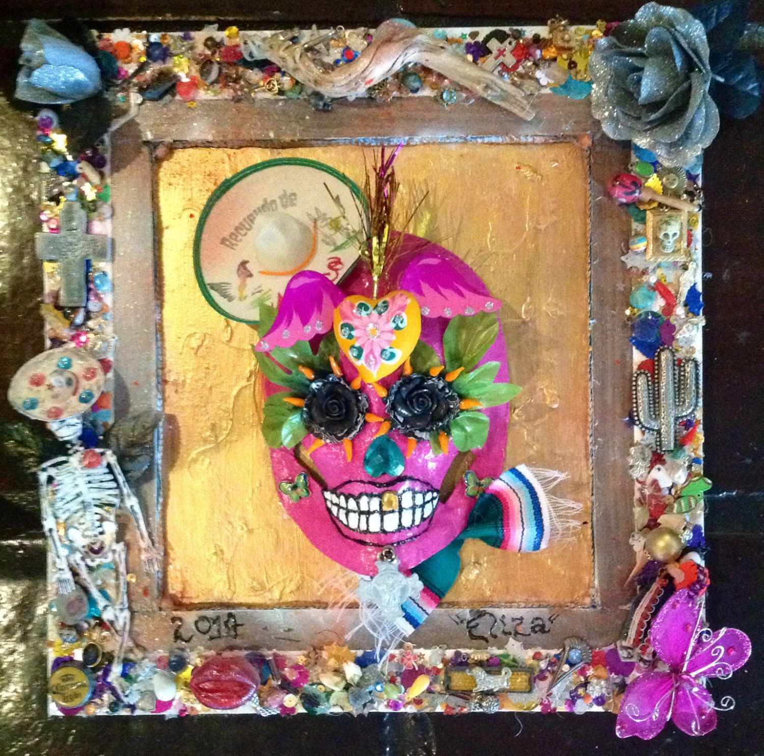 Day Of The Dead Frame And Mask By Thefunkyframeshop On Etsy Day Of