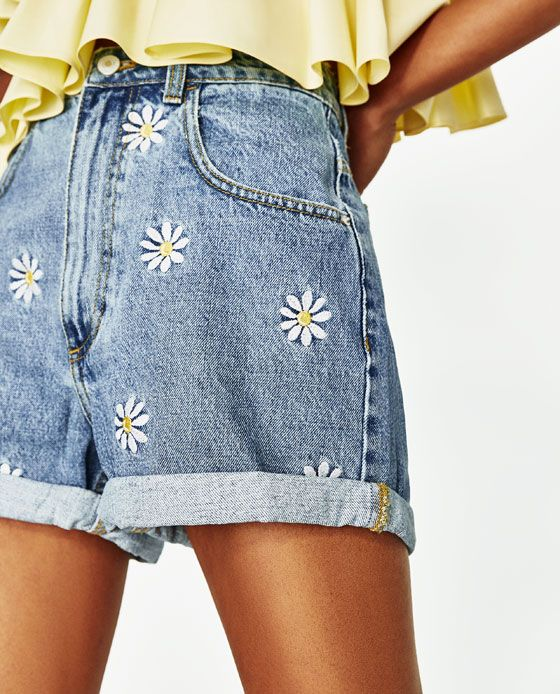 d71eb21282 Image 4 of BERMUDA SHORTS WITH EMBROIDERED DAISIES from Zara | so ...