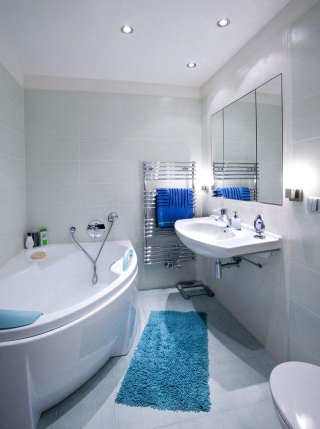 Kleines Bad Einrichten Farben Fliesen Hellblau Blaue Matte