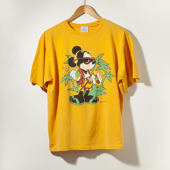 6c796341e003c Vintage Mickey Mouse 80s 70s Single Stitch T-Shirt Large Yellow Made ...