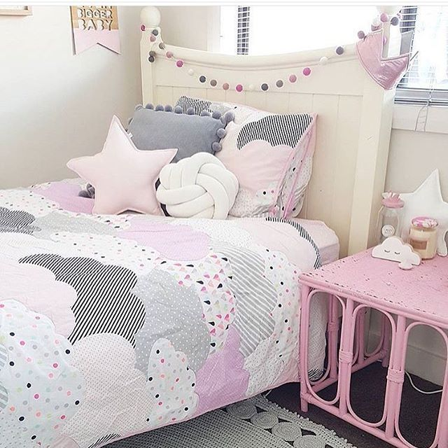 gray and pink twin girl bedroom ideas Bedding | The Girls' Cave | Girls bedroom, Kids room