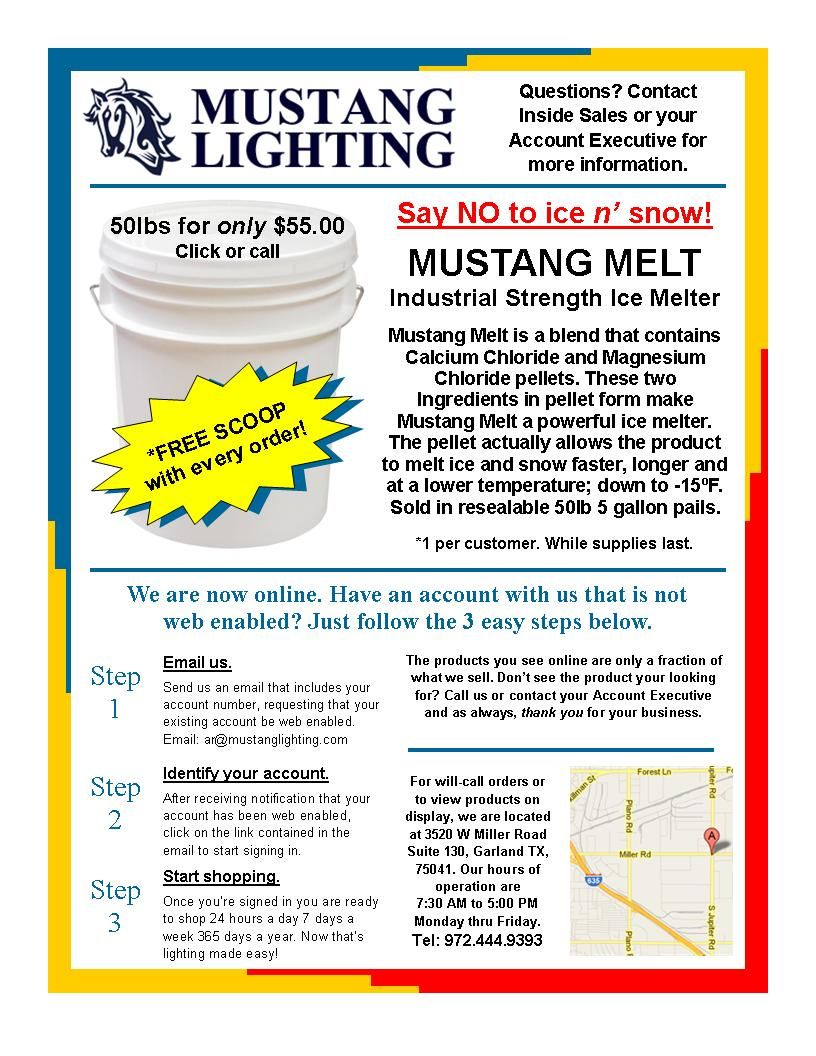 Mustang Melt Industrial Strength ice melt! Get 50 lbs. for only $55.00. DFW area delivery available. Call us today!