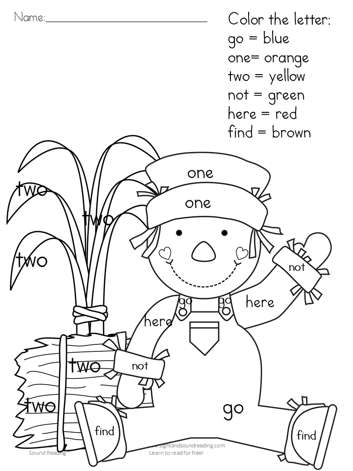 Printable Fall Coloring Pages Color by letter/sight word