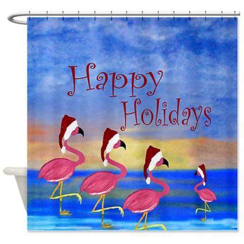 Santa flamingo flamily holiday shower curtain | Flamingo and Santa