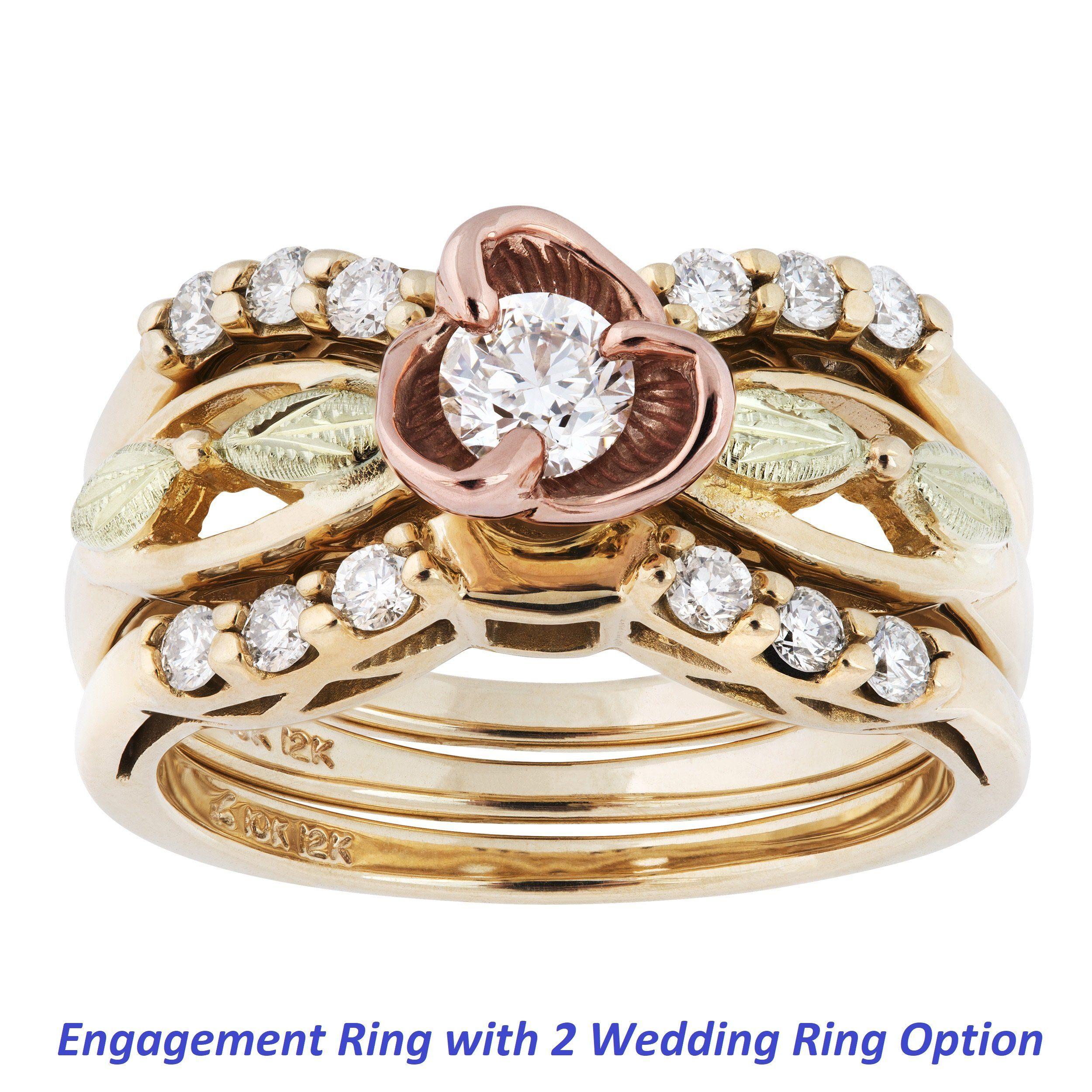 Diamond Rose Black Hills Gold Engagement / Wedding Ring