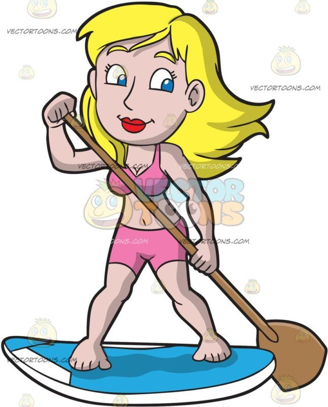 A Charming Woman On Paddle Board Cartoon Clipart