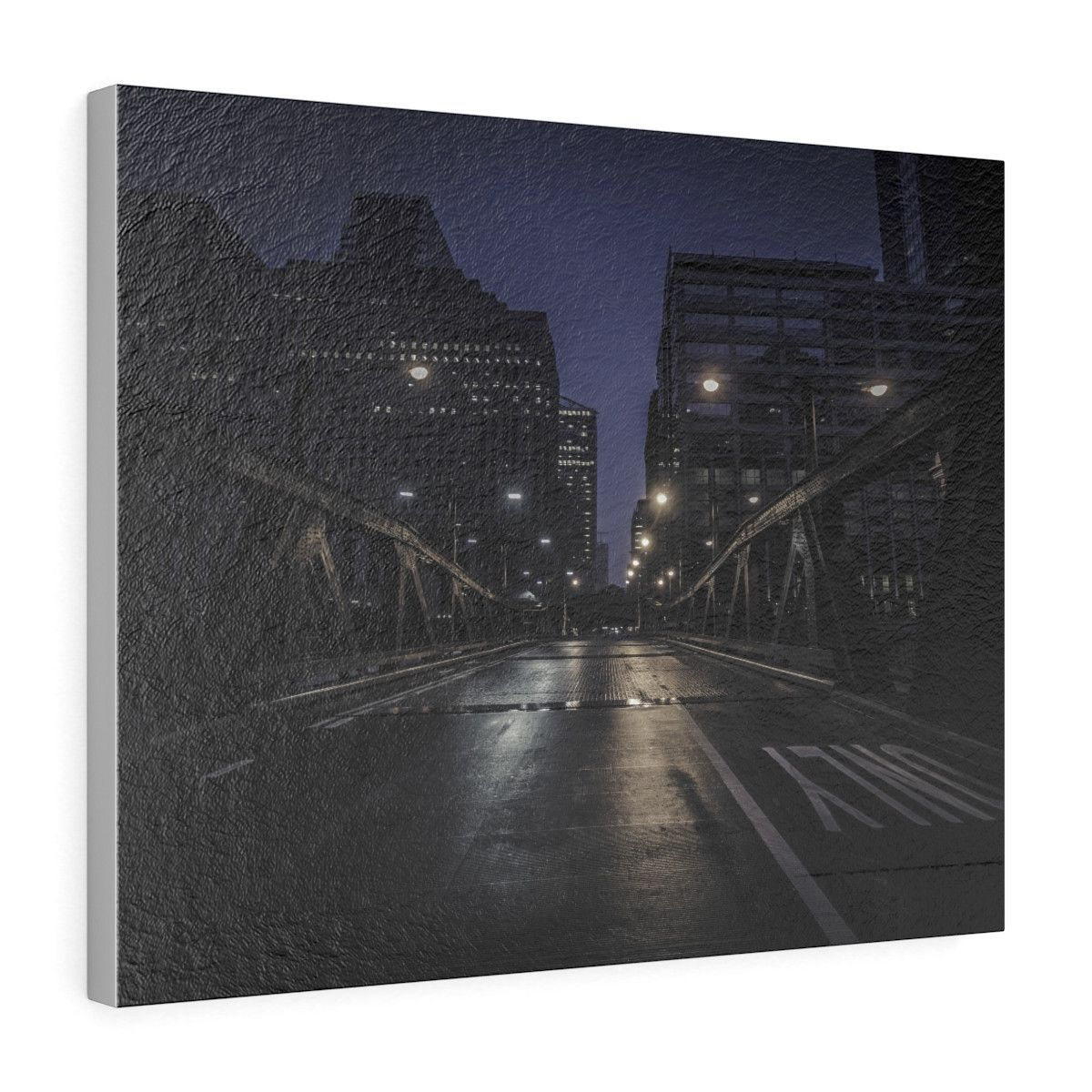 D Town Chicago Horizontal Leather Gallery Wrap