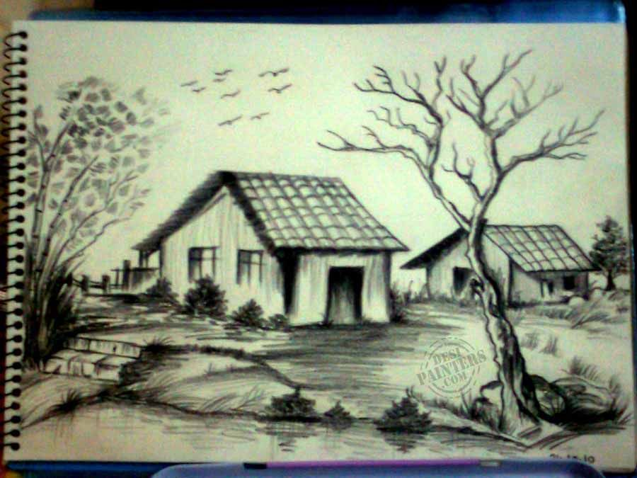A Picture Of Scenery In Pencil Shading