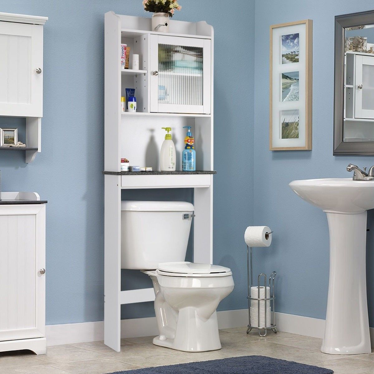 Bathroom Space Saver White Over The Toilet Cabinet Bathroom Space Saver Bathroom Storage Cabinet Space Saving Toilet