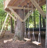 8 x 12 rectangular treehouse plan swings hanging underneath
