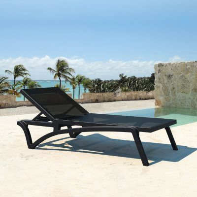 Pacific Stacking Sling Chaise Lounge Black Black Isp089 Bla Bla With Images Sun Lounger Outdoor Chaise Lounge Chair Outdoor