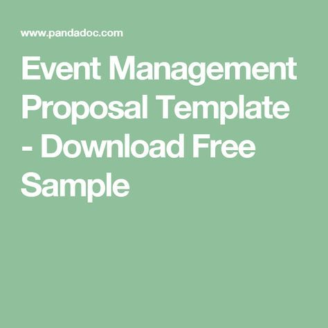 Event Management Proposal Template - Download Free Sample Events