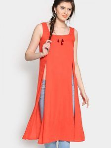 square-neck-orange-kurti