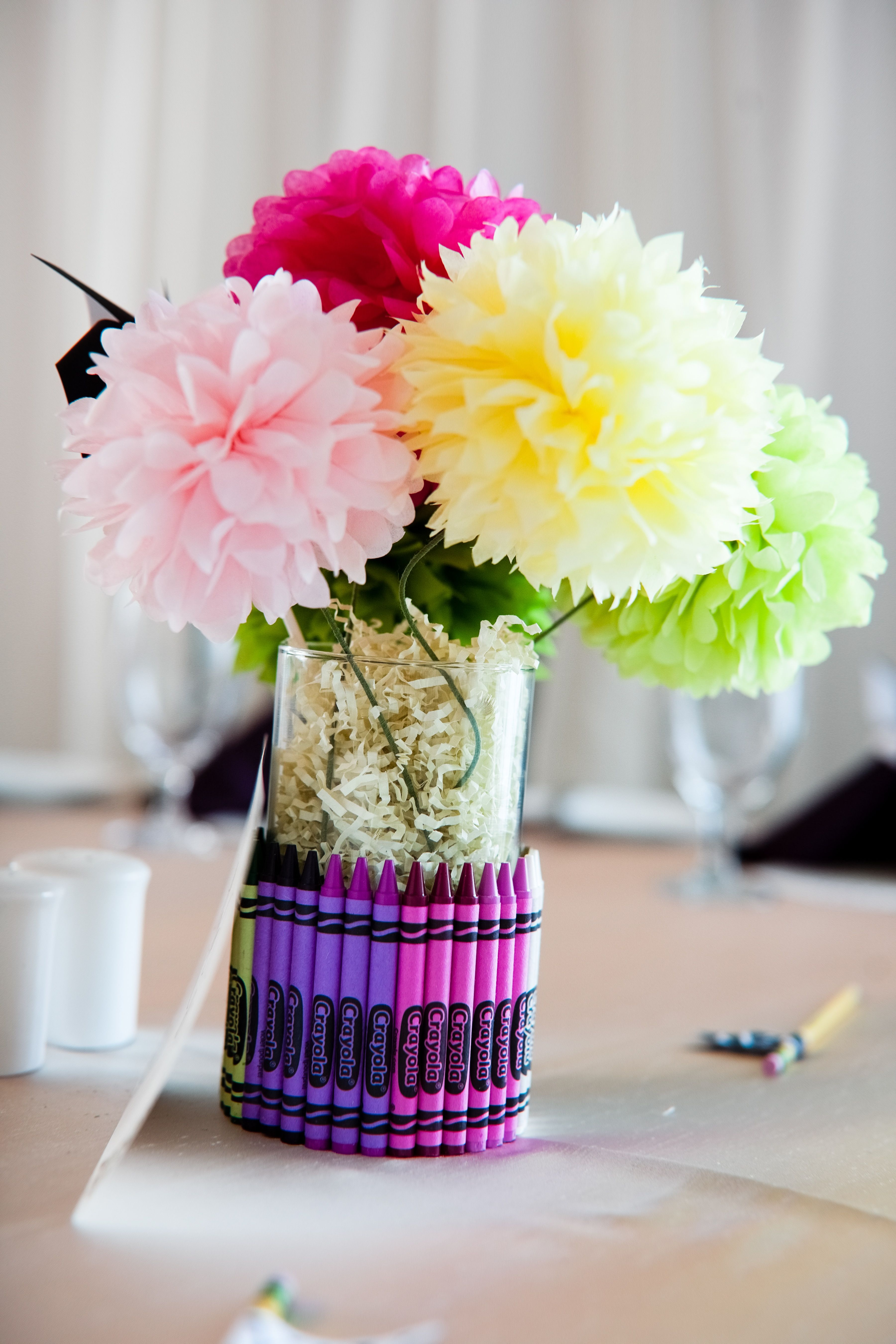 Creative Centerpiece For The Kids Table Use Low Temp Glue Gun And