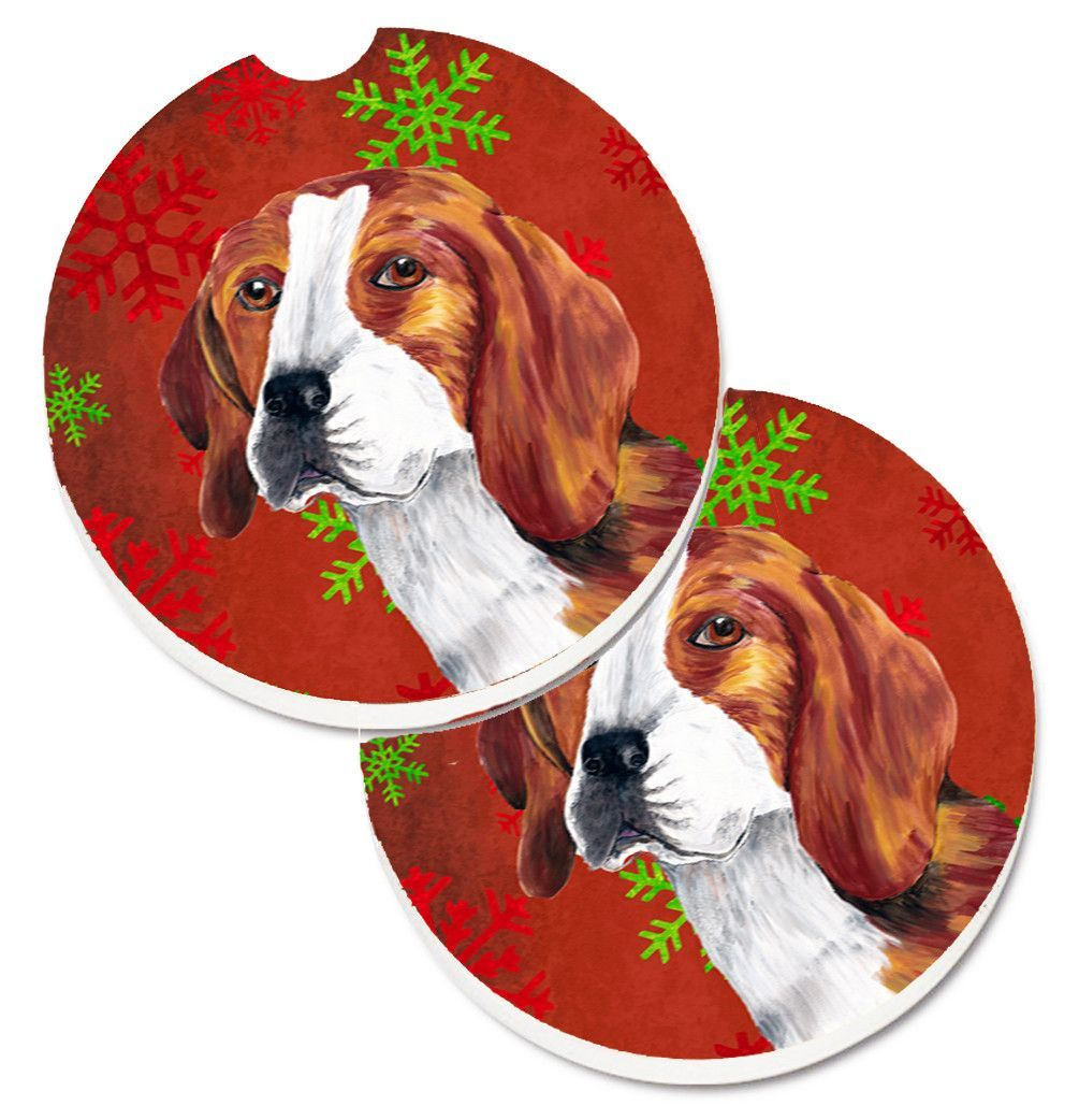Beagle Red and Green Snowflakes Holiday Christmas Set of 2 Cup Holder Car Coasters SC9409CARC