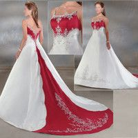 White Wedding Dresses With Red Accents Red Wedding Dresses