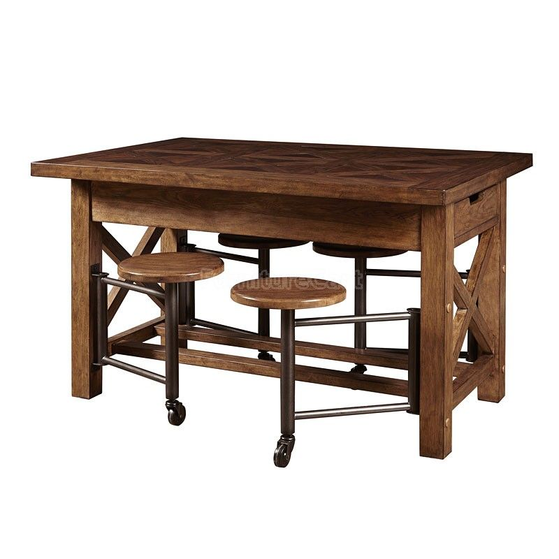 American Attitude Gathering Table W Attached Stools