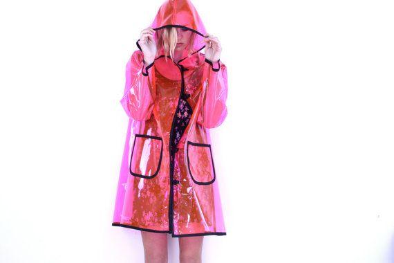 Hooded Raincoat, Pink Plastic Trench Coat