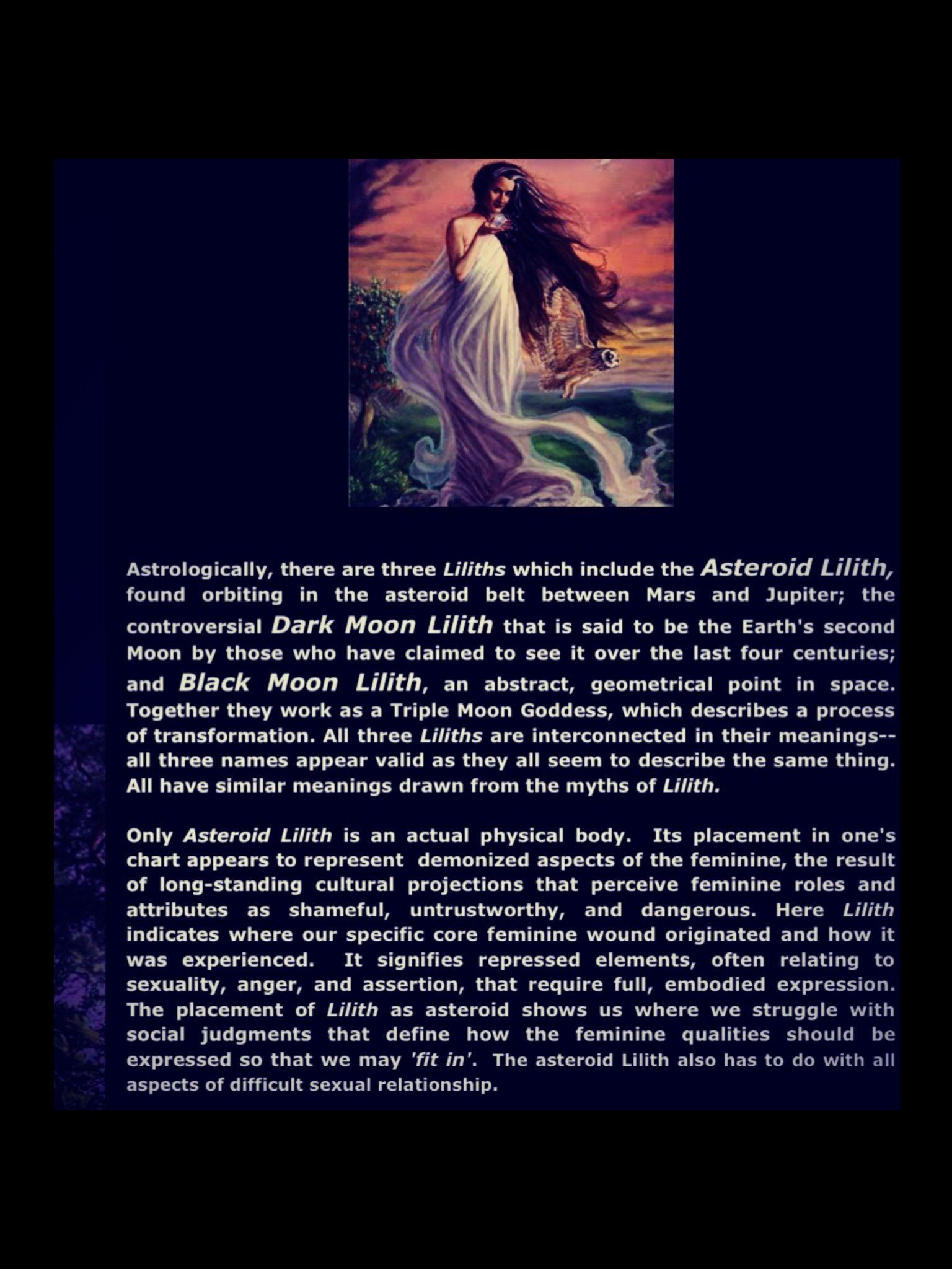 Astrology) Lilith (Black moon) (Dark moon) (Asteroid 1181/Lilith