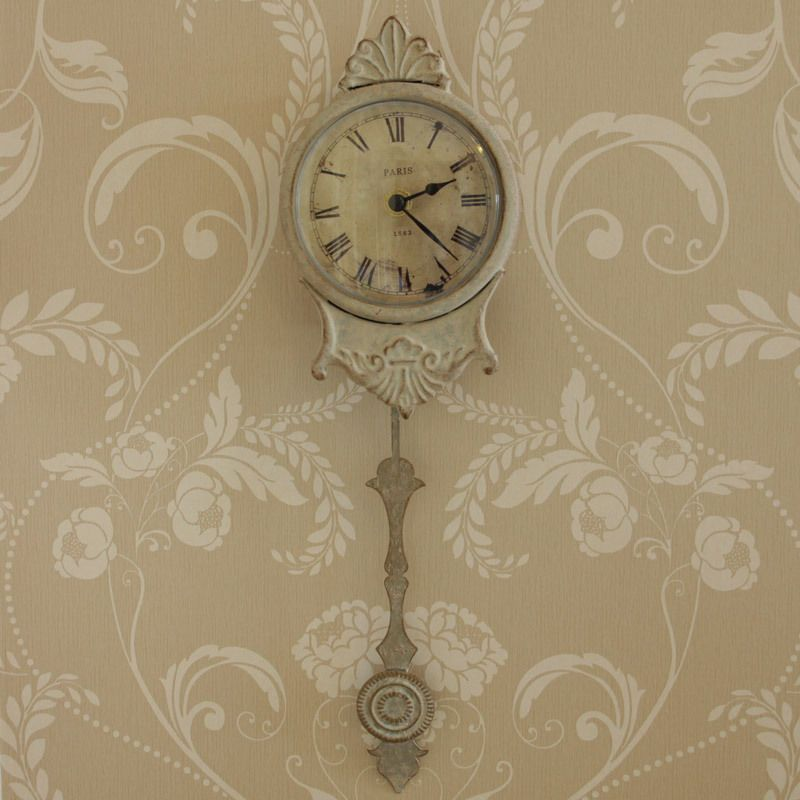 Cream Grey Small Metal Wall Pendulum Clock Home Accessory Office Gift