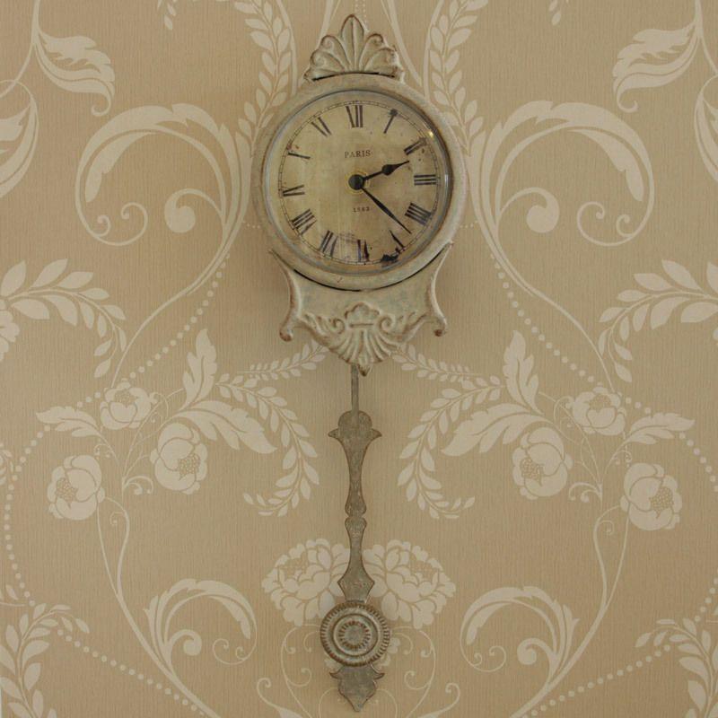 Cream grey small metal wall pendulum clock home accessory office cream grey small metal wall pendulum clock home accessory office gift publicscrutiny Images
