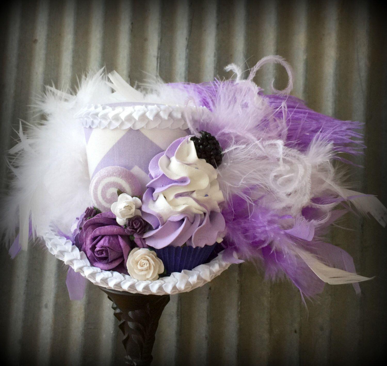 Kentucky Derby Hat, Purple Chevron Cupcake Hat, Mad hatter Hat ...
