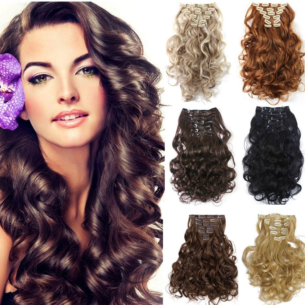 set clip in hair extensions cm inch stksset krullend haar