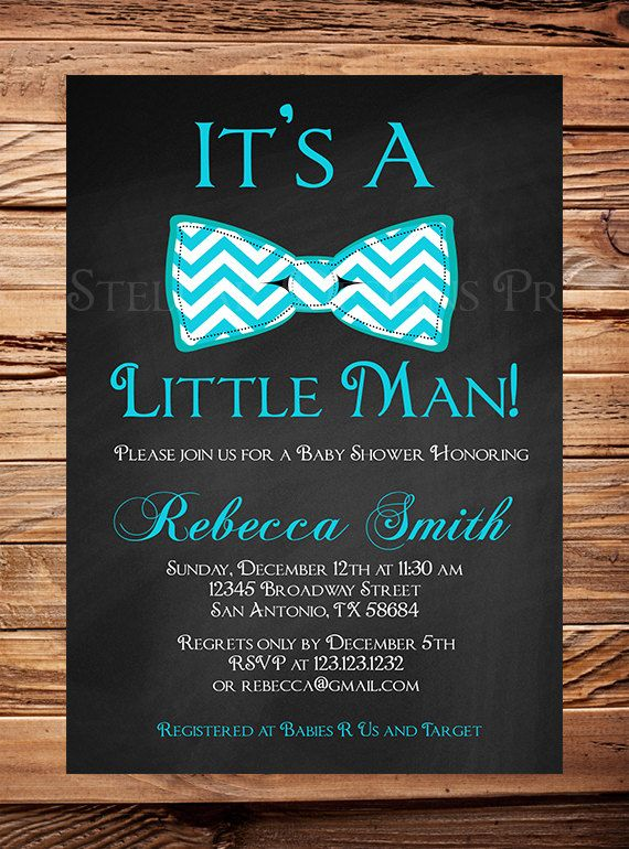 Little Man Baby shower Invitation boy Chalkboard Bow Tie Boy